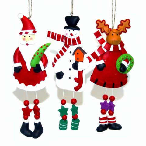 KNOBBLY KNEES - Clay Christmas Tree Ornaments Handmade Xmas Decorations - Set of 3